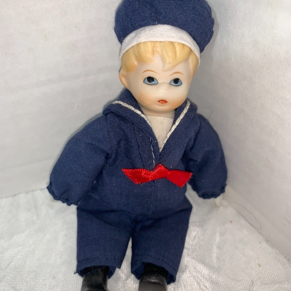 """Russ Berrie Porcelain Sailor Boy Doll 5"""" Tall"""